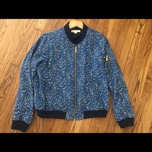 Michael Kors Large Floral Blue Bomber Jacket